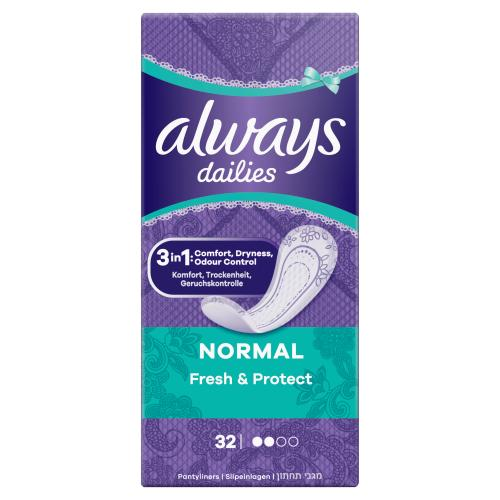 Always Dailies Fresh & Protect Panty Liners Normal x 32
