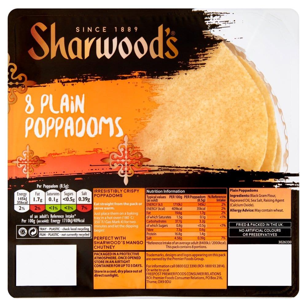 Sharwood's Plain Poppadoms x8