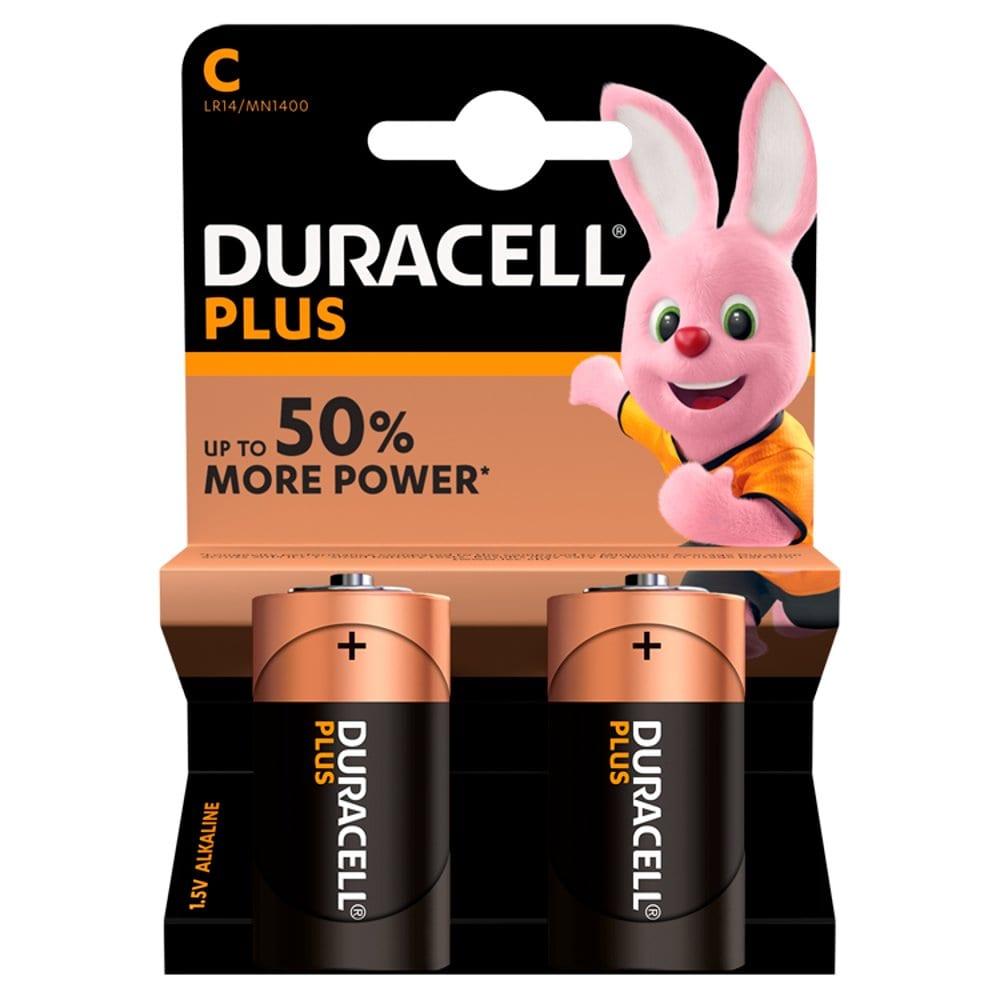Duracell Plus Power Alkaline C Batteries, Pack of 2