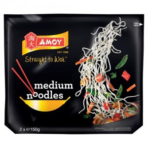 Amoy Straight to Wok Medium Noodles 2 x 150g