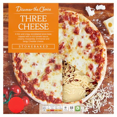 Discover the Choice Three Cheese Pizza 331g