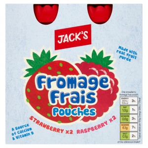Jack's Fromage Frais Strawberry & Raspberry Pouches 4 x 80g (320g)