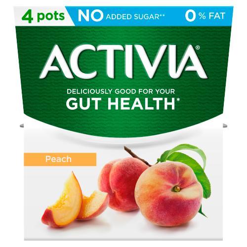 Activia Peach No Added Sugar 0% Fat Yogurt 4 x 120g (480g)