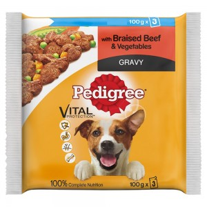 Pedigree Wet Dog Food Pouches Beef in Gravy 3 x 100g