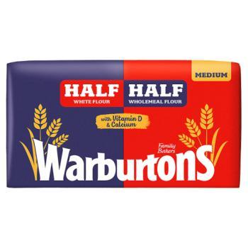 Warburtons Half And Half Medium Bread 800g (Blue/Red)