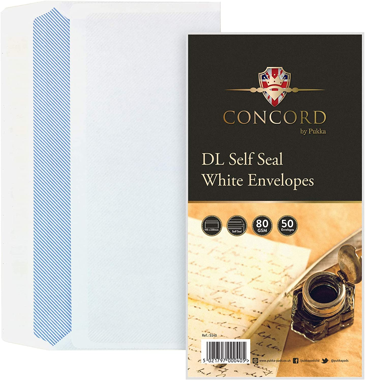 Concord Self Seal White DL Envelopes