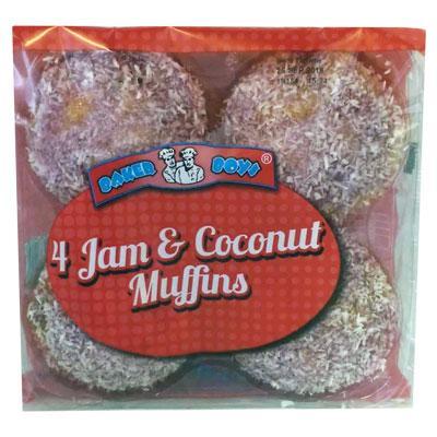 Baker Boys Jam & Coconut Muffins 4 Pack